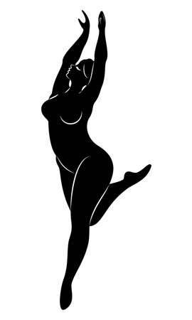Silhouette of a cute lady, she is dancing ballet. The woman has an overweight body. Girl is plump. Woman ballerina, gymnast. Vector illustration.