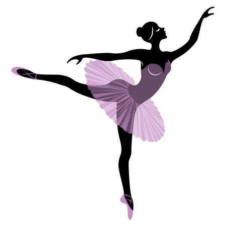 Silhouette einer süßen Dame, sie tanzt Ballett. Das Mädchen hat eine schöne und süße Figur. Frauenballerina. Vektor-Illustration.