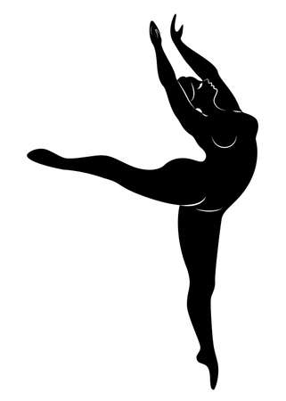 Silhouette of a cute lady, she is dancing ballet. The woman has an overweight body. Girl is plump. Woman ballerina, gymnast. Vector illustration. Imagens - 122203779