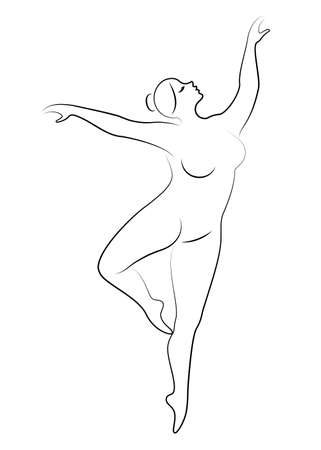 Silhouette of a cute lady, she is dancing ballet. The woman has an overweight body. Girl is plump. Woman ballerina, gymnast. Vector illustration. Ilustração Vetorial