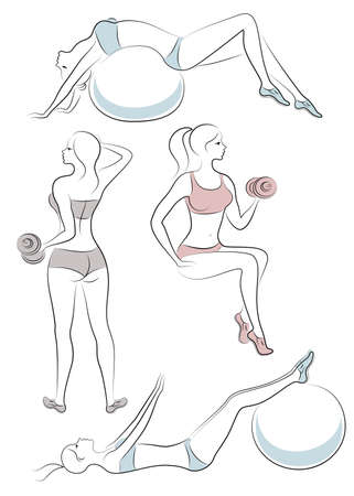 Collection. Silhouette of cute ladies. Girls are engaged in fitness, dumbbell trainer, fitball. Women are young and slender, with beautiful figures. Vector illustration set.