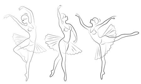 Collection. Silhouette of a cute lady, she is dancing ballet. The girl has a slim beautiful figure. Woman ballerina. Vector illustration set. Illustration
