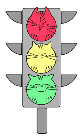 Traffic light with a cat. Red is an evil animal. Yellow - calm pet. Green - a joyful cat. Symbolic allegory. Vector illustration.