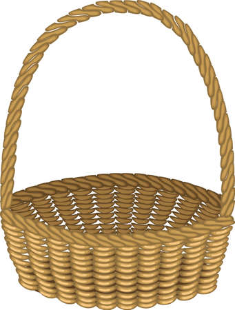 Beautiful wicker basket. Handmade. For shopping, transportation of products for a picnic. Convenient to collect mushrooms, berries. Vector illustration. Vettoriali