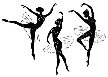 Collection. Silhouette of a cute lady, she is dancing ballet. The girl has a beautiful figure. Woman ballerina. Vector illustration set.