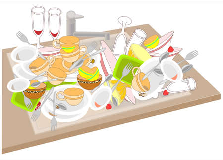 Kitchen sink. Dirty dishes fill the sink. Bowls, cups, spoons, forks, glasses dropped on a pile. It is necessary to wash the dishes. Vector illustration.
