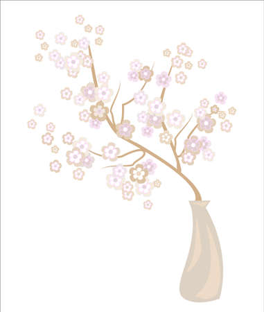 Romantic vase with a delicate cherry blossom. Exquisite petals and delicate floral fragrance. Decoration of a festive table and an excellent gift for a loved one. Vector illustration.