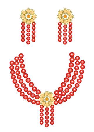 Gioielli da donna. Bellissimi orecchini e perline rosso brillante. Illustrazione vettoriale.