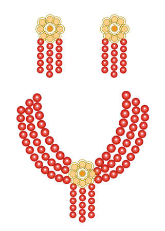 Women's jewelry. Bright red beautiful beads and earrings. Vector illustration.