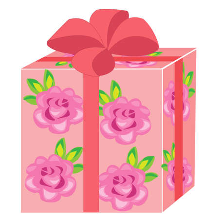 A beautiful gift. The box is packed for a holiday. The package is pink, decorated with roses. The red bow is tied on top. Vector illustration.