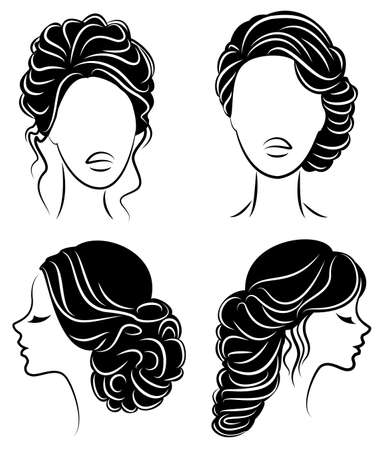 Collection. Silhouette profile of a cute lady s head. The girl shows her hairstyle for medium and long hair. Suitable for logo, advertising. Vector illustration set. 版權商用圖片 - 122203994