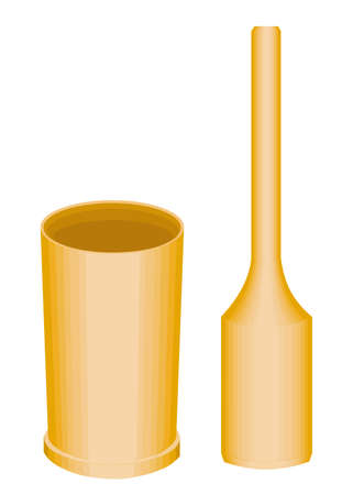 The subject of kitchen utensils. A wooden mortar and pestle are necessary for the household in the kitchen. Vector illustration.