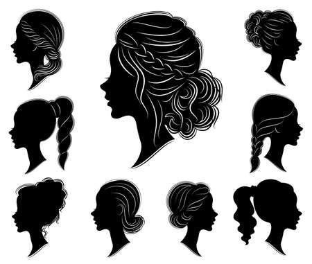 Collection. Silhouette of a head of a sweet lady in different frames. The girl shows a woman s hairstyle on medium and long hair. Suitable for logo, advertising. Set of vector illustrations. Illustration