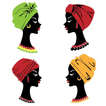 Colección. Silueta de la cabeza de una dulce dama. Un chal brillante, un turbante está atado a la cabeza de una niña afroamericana. La mujer es hermosa y elegante. Conjunto de ilustraciones vectoriales.