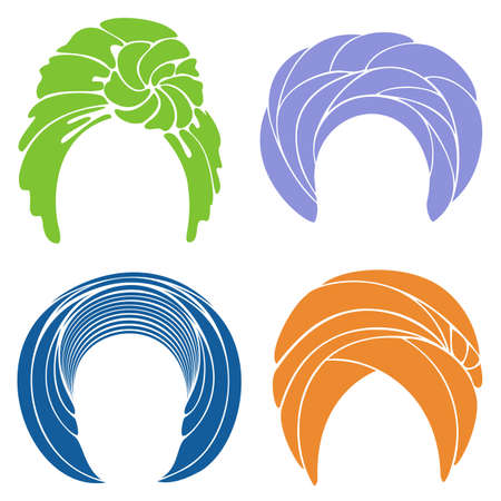 Collection. Traditional national headdress, turban. Knitted scarf. Logo, symbol, scheme Graphic image Set of vector illustrations