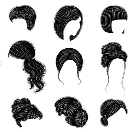 Collection of female hairstyles for short, long and medium hair. Hairstyles are fashionable, beautiful and stylish. For brunettes, blondes and brown-haired. Vector illustration set.