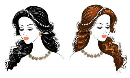 Collezione. Siluetta della testa di una signora carina. La ragazza mostra la sua acconciatura su capelli lunghi e medi. Adatto per logo, pubblicità. Serie di illustrazioni vettoriali.
