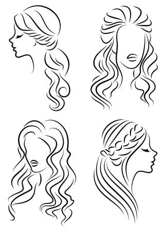 Collection. Silhouette profile of a cute lady s head. The girl shows her hairstyle for medium and long hair. Suitable for logo, advertising. Vector illustration set. Banco de Imagens - 122204090
