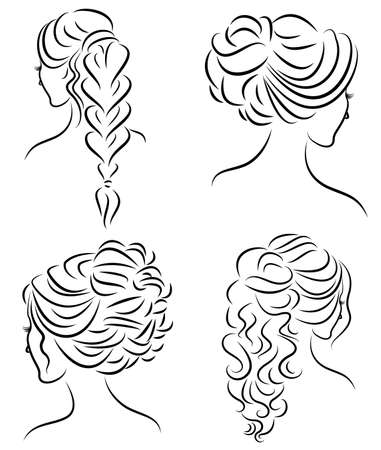 Collection. Silhouette profile of a cute lady s head. The girl shows her hairstyle for medium and long hair. Suitable for logo, advertising. Vector illustration set.