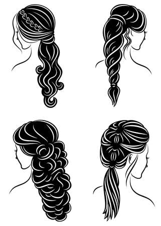 Collection. Silhouette of the head of a cute lady. The girl shows her hairstyle on long and medium hair. Suitable for logo, advertising. Set of vector illustrations.  イラスト・ベクター素材