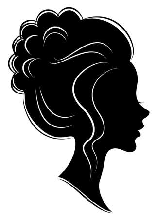 Silhouette of a profile of a sweet lady s head. The girl shows a female hairstyle on medium and long hair. Suitable for logo, advertising. Vector illustration.