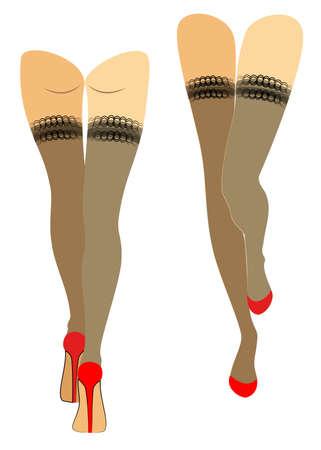 Silhouettenfigur einer Dame. Schlanke Beine in Strümpfen, rote Schuhe. Frau zu Fuß. Füsse gepflegte, schöne seidige Haut. Satz von Vektorillustrationen.