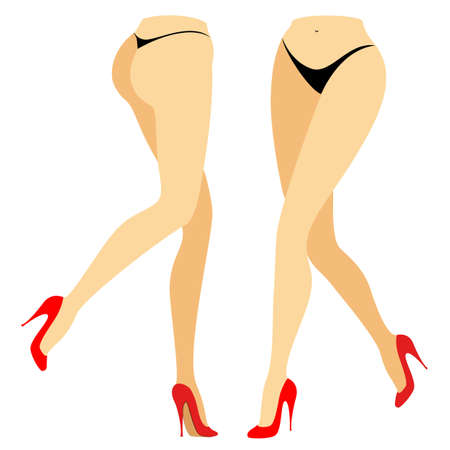 Silhouette figure of a lady in a bikini. Slender legs of a girl in red shoes. A woman stands in front and behind. Feet well-groomed, beautiful silky skin. Vector illustration set.