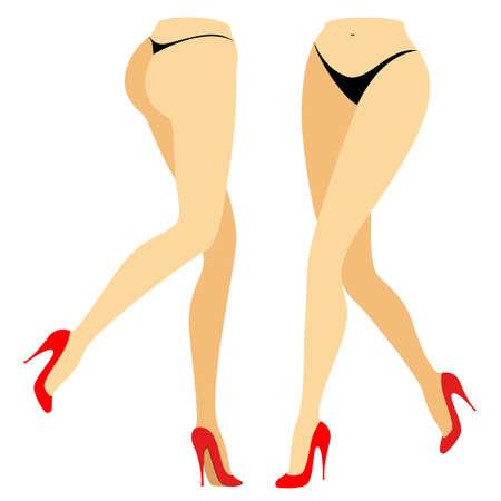 Silhouettenfigur einer Dame im Bikini. Schlanke Beine eines Mädchens in roten Schuhen. Vorne und hinten steht eine Frau. Füsse gepflegte, schöne seidige Haut. Vektorillustrationssatz. Vektorgrafik