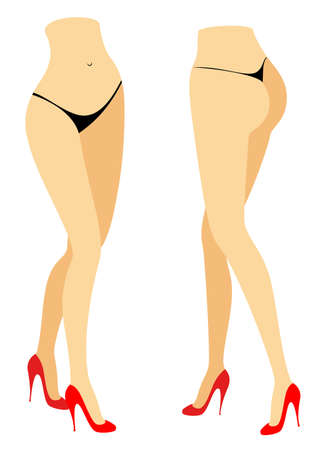 Silhouette figure of a lady in a bikini. Slender legs of a girl in red shoes. A woman stands in front and behind. Feet well-groomed, beautiful silky skin. Vector illustration set. Illustration