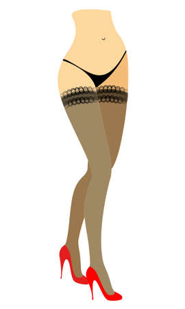 Silhouette figure of a lady in a bikini. Slender beautiful female legs, dressed in stockings. The womansits in a red high-heeled shoes. Vector illustration. 向量圖像