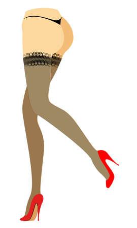 Figure de silhouette d'une dame en bikini. Minces belles jambes féminines, vêtues de bas. La femme est assise dans des chaussures rouges à talons hauts. Illustration vectorielle.