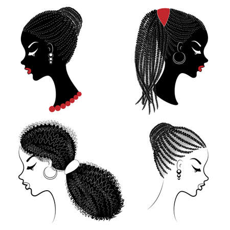 Collection. Profile of a head of sweet ladies. African American girls show hairstyles for long and medium hair. Silhouettes of women are beautiful and stylish. Vector illustration set.
