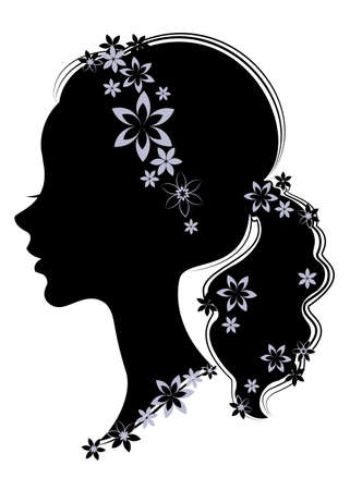 Silhouette profile of a cute lady s head. The girl has a haircut tail for long beautiful hair, decorated with purple flowers. Suitable for logo, advertising. Vector illustration.