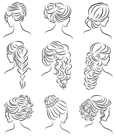 Collection. Silhouette profile of a cute lady s head. The girl shows her hairstyle for medium and long hair. Suitable for logo, advertising. Vector illustration set. Banco de Imagens - 122204209