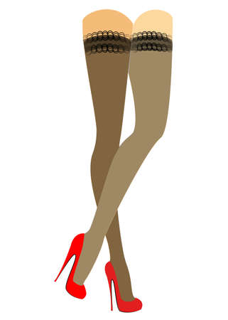 Silhouette of slender beautiful lady legs. The girl is standing. The woman is dressed in fashionable stockings and is shod in red high-heeled shoes. Vector illustration.