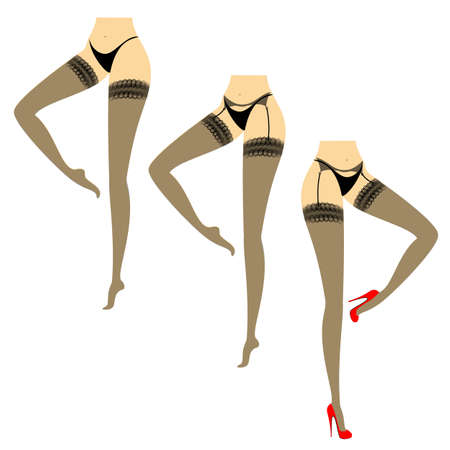 Silhouette of a lady figure in a bikini. Slender beautiful female feet, dressed in stockings with a belt. The girl is standing, shod in red high-heeled shoes. Vector illustration set.