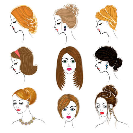 Long braids creative brown hair, isolated on white background. Hairstyles of a woman. Set of vector illustrations. 免版税图像 - 122204247