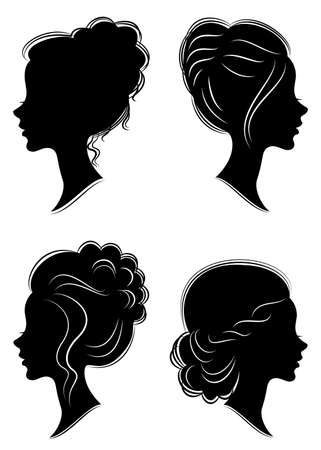 Collection. Silhouette of the head of a sweet lady. Pretty girl shows beautiful female hairstyle on medium and long hair. Suitable for logo, advertising. Vector illustration.
