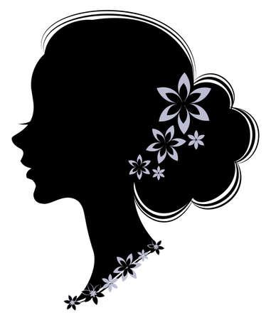 Schattenbildprofil des Kopfes einer netten Dame. Das Mädchen hat langes schönes Haar, das mit blauen Blumen verziert ist. Geeignet für Werbung, Logo. Vektor-Illustration.