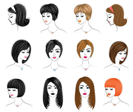 Long braids creative brown hair, isolated on white background. Hairstyles of a woman. Set of vector illustrations.