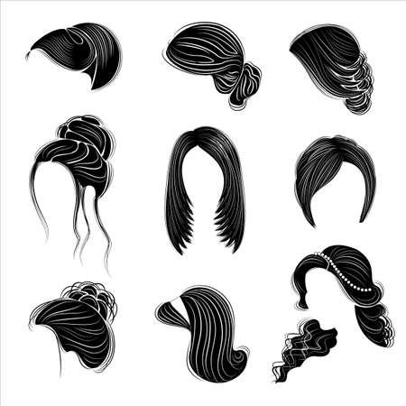 Colección de peinados femeninos para cabello corto, largo y mediano. Los peinados están de moda, hermosos y con estilo. Para morenas, rubias y castañas. Conjunto de ilustración vectorial.