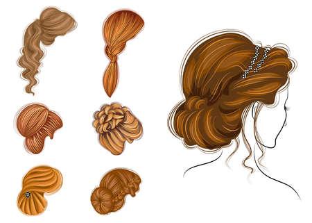 Trenzas largas cabello castaño creativo, aislado sobre fondo blanco. Peinados de mujer. Conjunto de ilustraciones vectoriales.