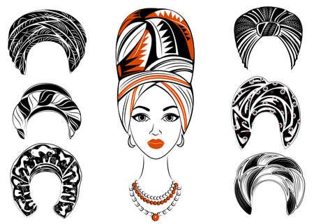 Collezione. Siluetta di una testa di una dolce signora. Uno scialle luminoso, un turbante, legato alla testa di una ragazza afroamericana. La donna è bella ed elegante. Serie di illustrazioni vettoriali.