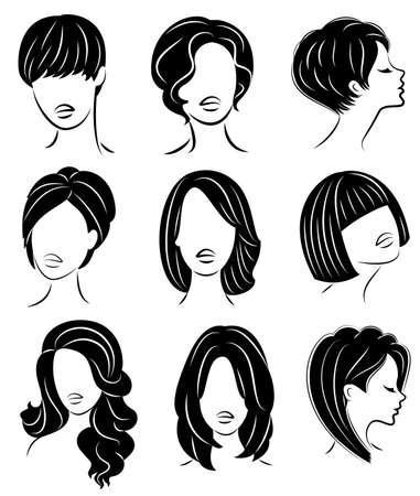 수집. 귀여운 여성의 머리의 실루엣 프로필입니다. 소녀는 중간 머리와 긴 머리를 위한 헤어스타일을 보여줍니다. 로고, 광고에 적합합니다. 벡터 일러스트 레이 션을 설정합니다.