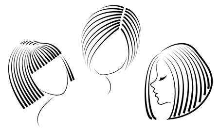Silhouette of the head of a cute lady. The girl shows her hairstyle for medium and short hair. Suitable for logo, advertising. Vector illustration. Illustration