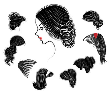 Collection de coiffures féminines pour cheveux courts, longs et moyens. Les coiffures sont à la mode, belles et élégantes. Pour les brunes, blondes et brunes. Jeu d'illustrations vectorielles.