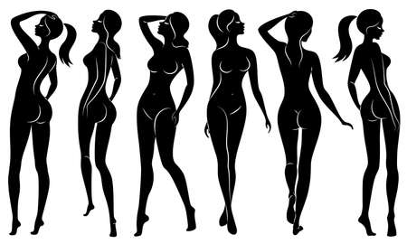 Collection. Silhouettes of lovely ladies. Beautiful girls stand in different poses. The figures of women are naked, feminine and slender. Set of vector illustrations. Ilustração Vetorial