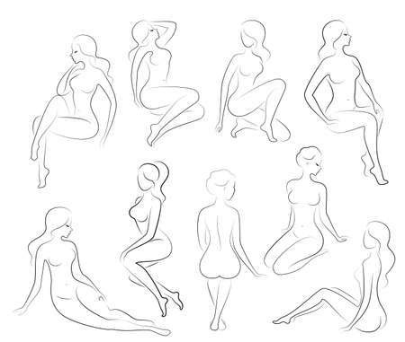 Collection. Silhouette of a sweet lady, she sits and stands. The girl has a beautiful figure. A woman is a young and slender model. Set of vector illustrations. Ilustração Vetorial