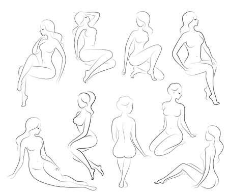 Sammlung. Silhouette einer süßen Dame, sie sitzt und steht. Das Mädchen hat eine schöne Figur. Eine Frau ist ein junges und schlankes Model. Satz von Vektorillustrationen. Vektorgrafik