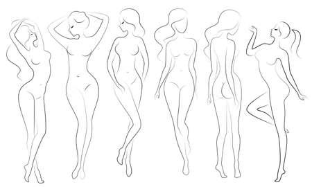 Collection. Silhouettes de belles dames. De belles filles se tiennent dans des poses différentes. Les figures de femmes sont nues, féminines et élancées. Ensemble d'illustrations vectorielles.
